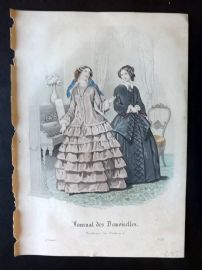 Journal des Demoiselles C1850 Antique Hand Col Fashion Print 106